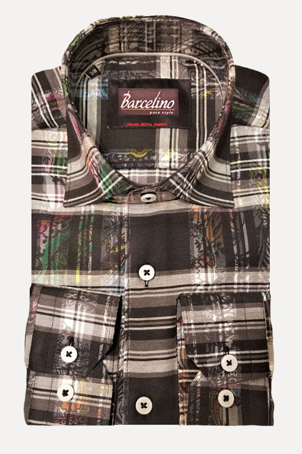 Italian 100% Cotton fabric, in Plaid design Shirt - Modern Fit