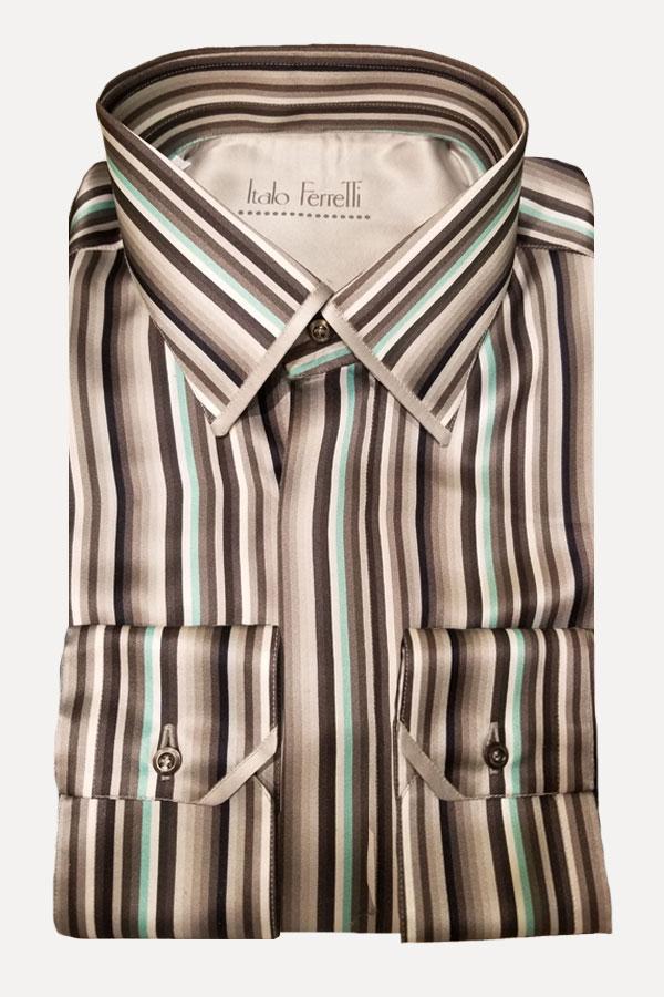 Italo Ferretti-100% Silk Italian Shirt. Multi Stripe print. Comfortable Fit. Italo Ferretti made for Barcelino.