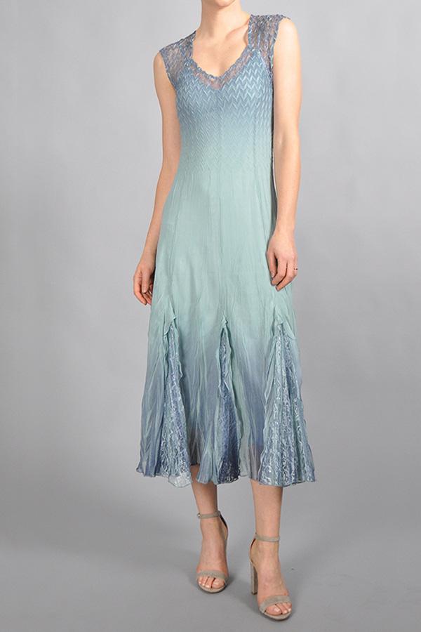 Plisse Elegant Ombre Dress