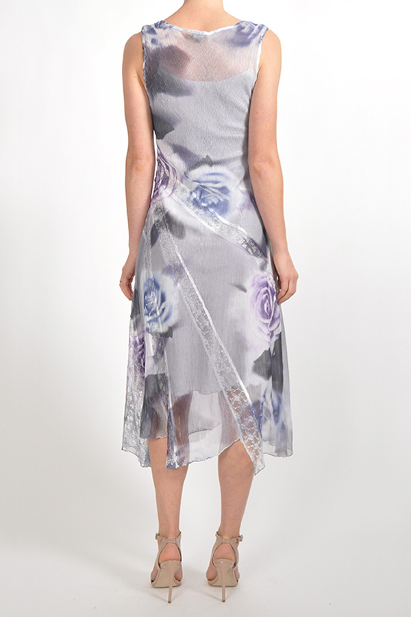 Plisse Sleeveless Chiffon floral dress