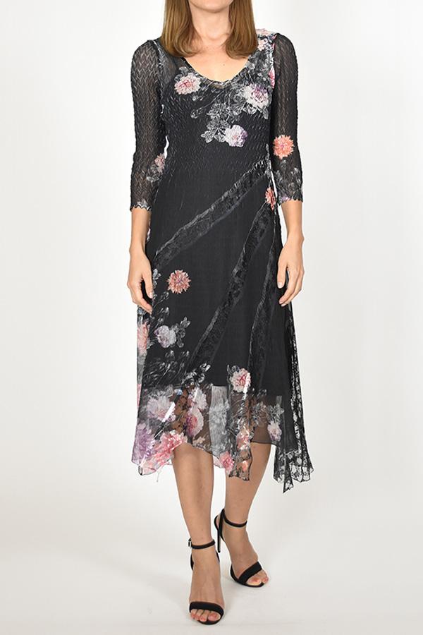 Plisse Chiffon Floral Dress