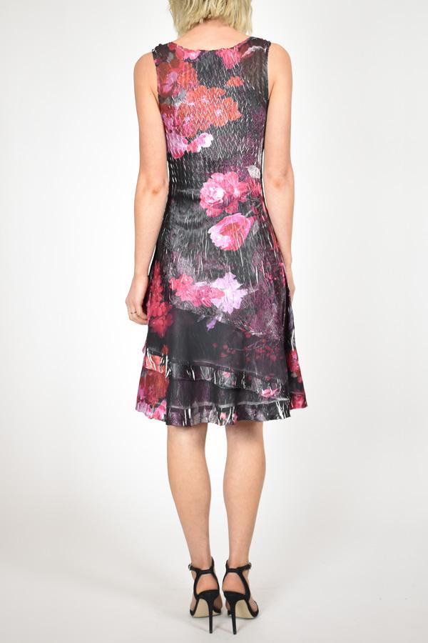 Plisse Sleeveless Floral Dress