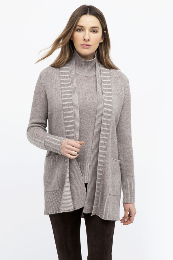 100% Cashmere Double Collar Cardigan