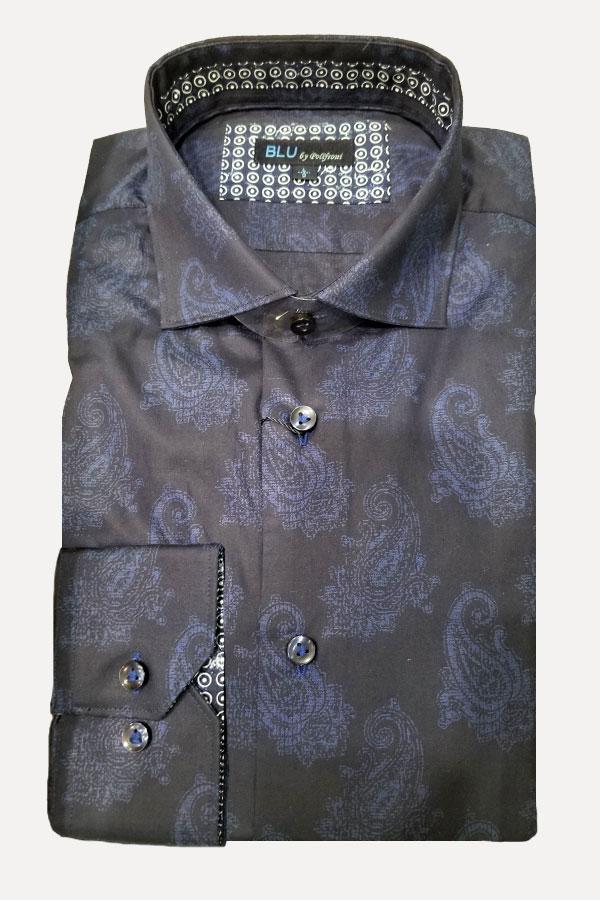 men's dark blue paisley print sports shirt by Blu