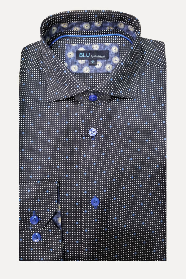 men's dotted print Italian fabric sports shirt