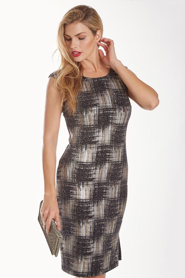 Knit Plaid Sparkle Shift Dress