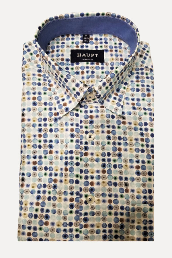 Haupt Shirt, Hidden Button Down Model in Printed 100% Cotton Fabric. HBD Polkadots