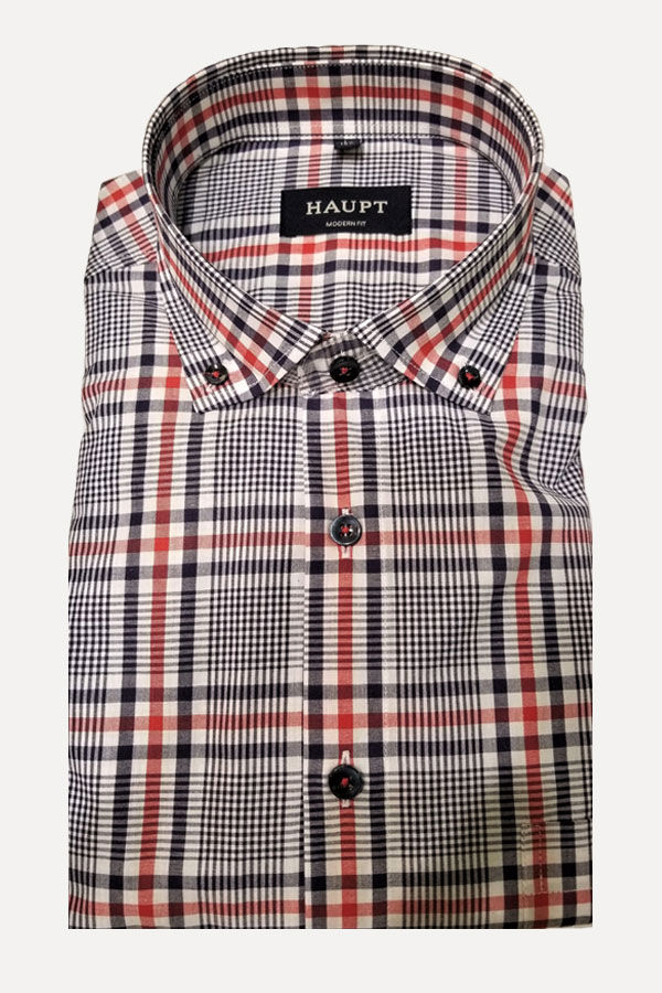 Haupt Shirt in a Button Down Model. Classic American looking print in 100% Cotton. Modern Fit sport shirt.