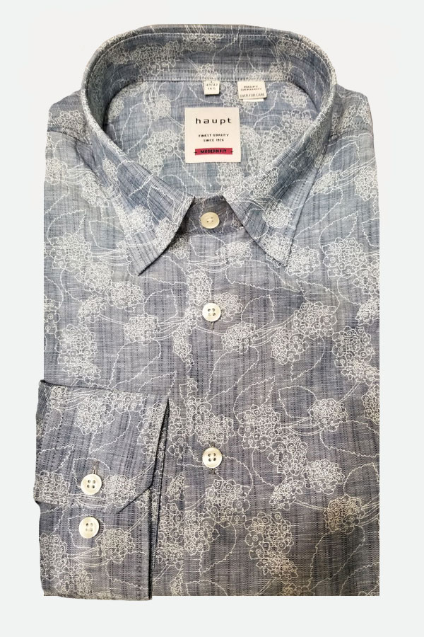Haupt Shirt in a Hidden Button Down Model, Made of  Printed 55% linen, Cotton fabric. Modern Fit.