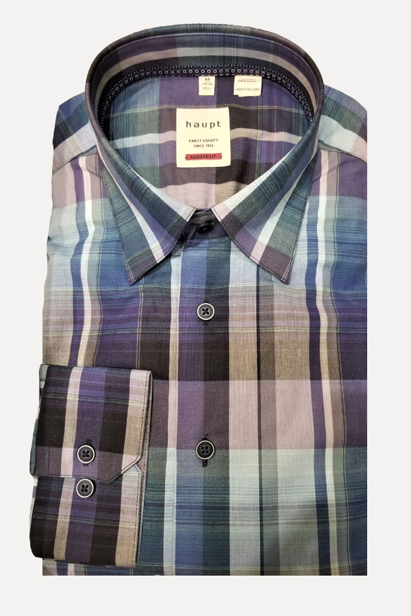Haupt SHIRT in Hidden Button Down Model. Modern Fit Shirt in a large multi color plaid print fabric