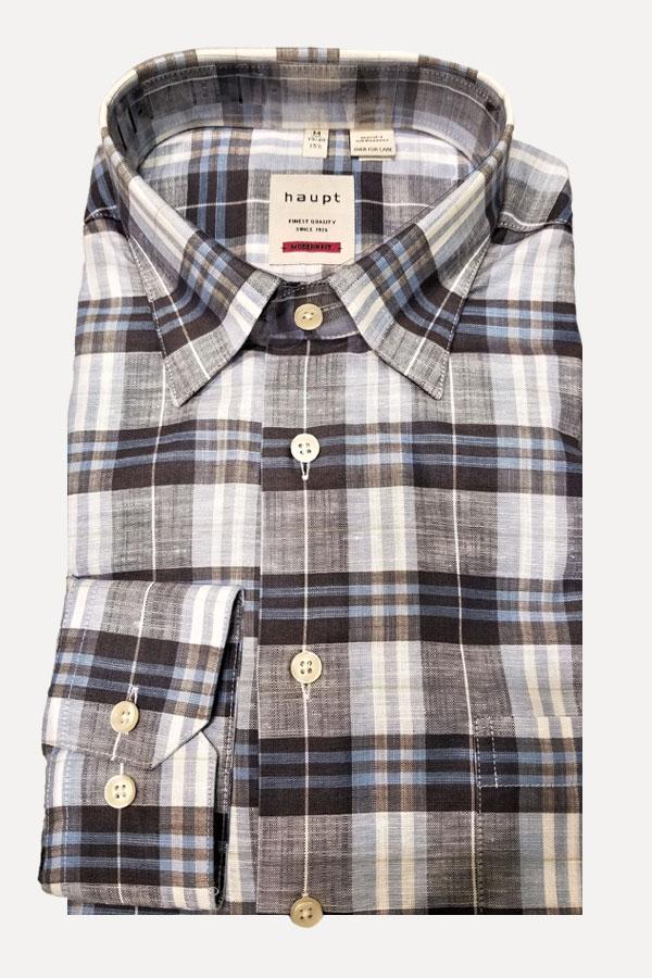 Haupt Linen Shirt in Hidden Button Down Model. 20%lino