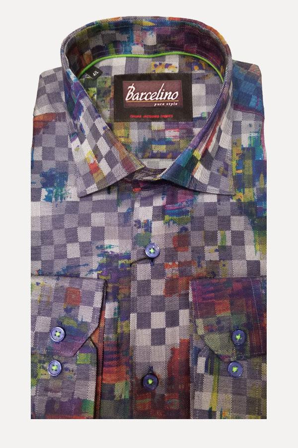 Hidden Button Down Shirt in Italian Geo Print Twill Fabric.