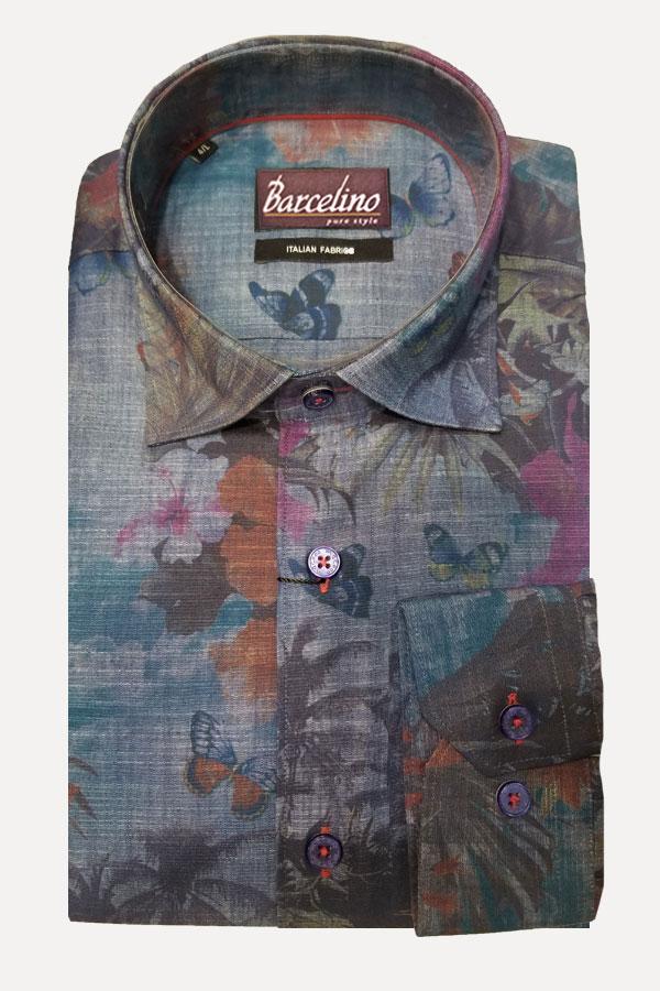 Italian Fabric in Linen/Cotton watercolor print, in a Hidden Button Down detail in a Modern Fit model.