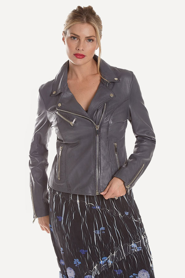 front view of women's light gray leather moto jacket