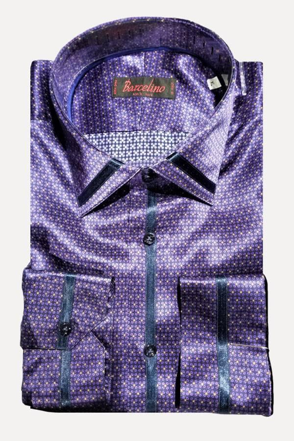 Silvio Fiorello 100%Silk Print Shirt with Silk Ribbon Detail.