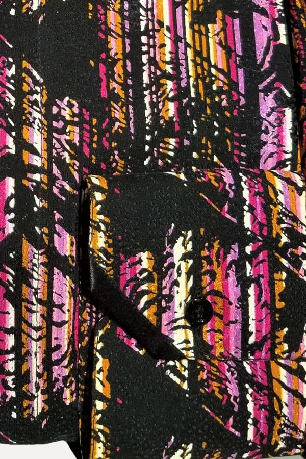 Italo Ferretti-100% Silk Italian Shirt. Multi abstract Stripe. Comfortable Fit.