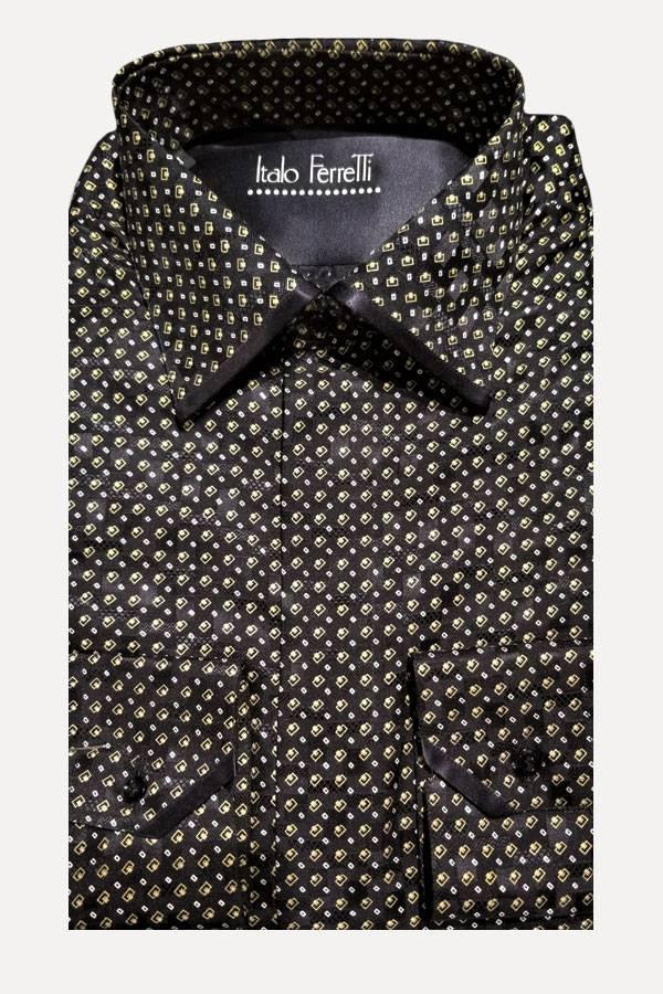 Italo Ferretti Silk Shirt in Print Jacquard