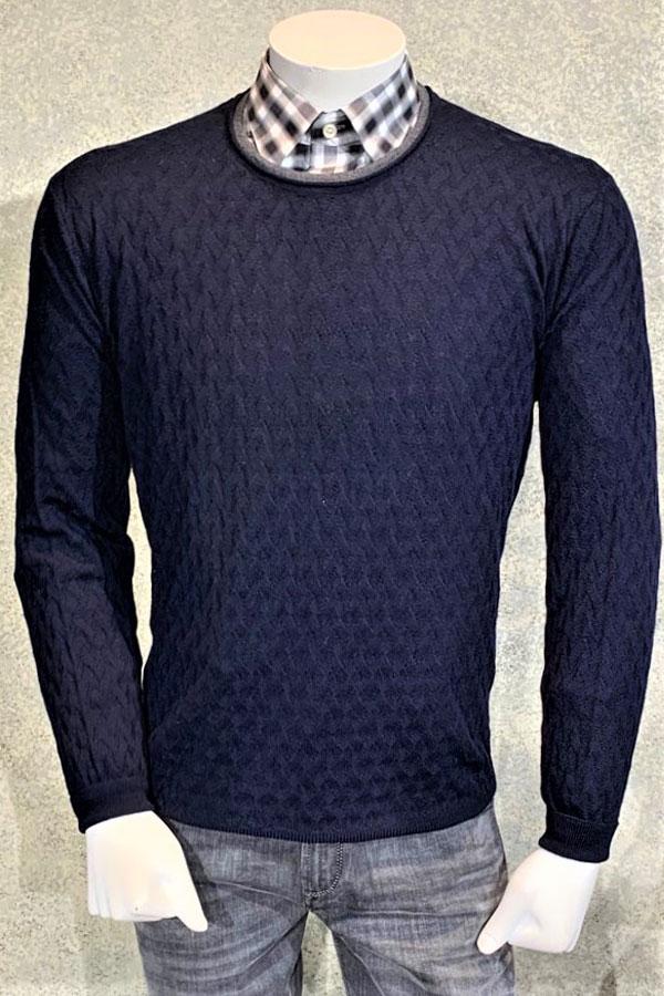 Italian Double Crew Neck Sweater in Basket Weave Jacquard Design