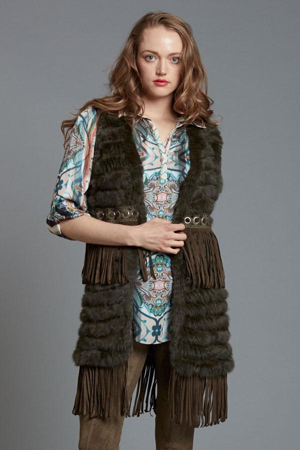 Knit Fur Grommet Vest