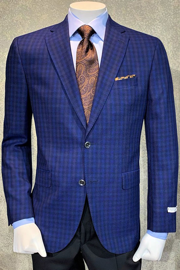 Jacket in Pure Wool Multi Color Check Hopsack