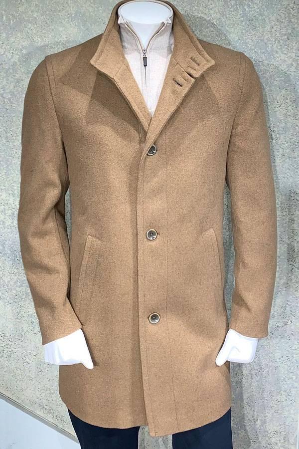 Coat 6 Buttons Mock Neck