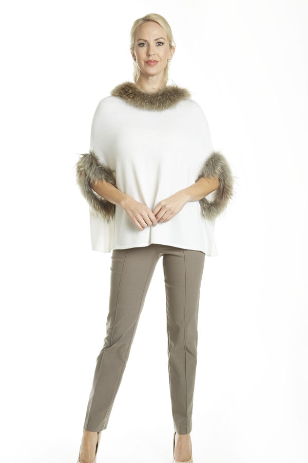 fur trimmed knit poncho white