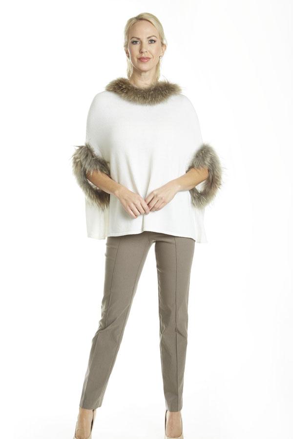 Fur Trim Knit Poncho