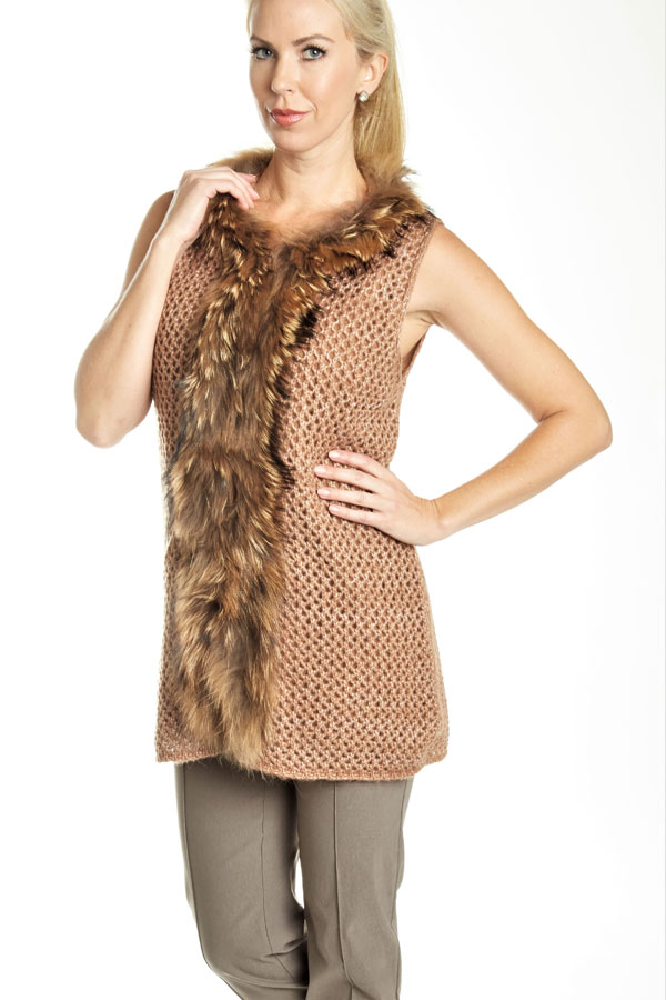 close-up of knit fur trimmed vest nutmeg