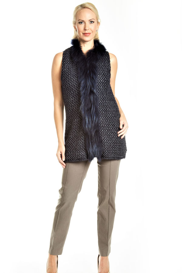 knit fur trimmed vest navy