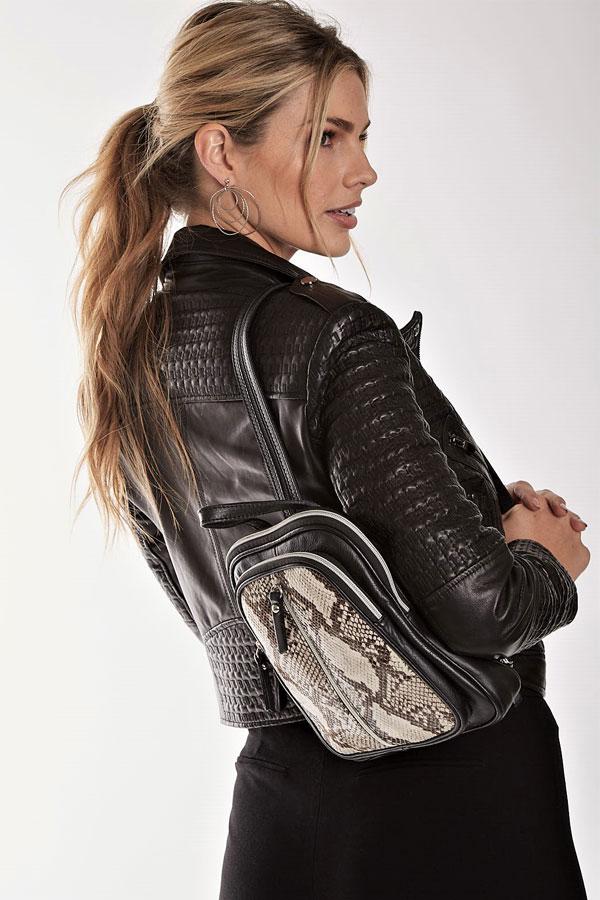 Embossed Leather Moto Jacket