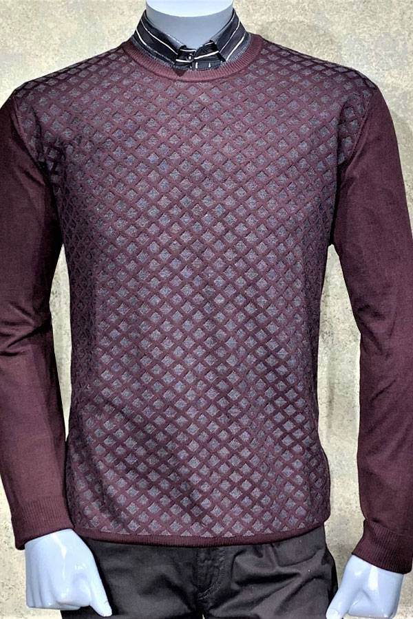 100% Wool Diamond Print Crew Sweater