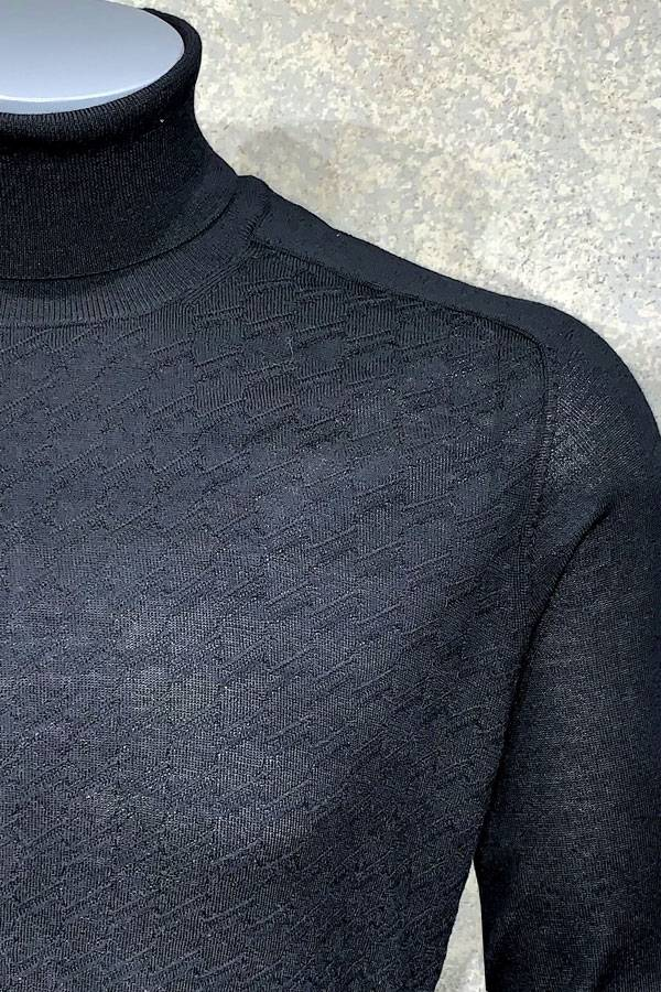 Merino Jacquard Turtle Neck Sweater