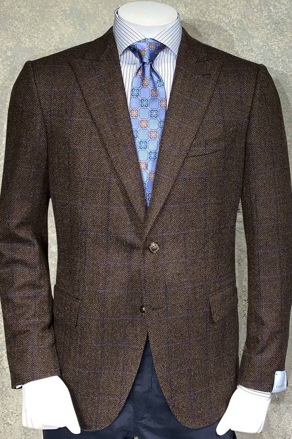 Italian Jacket in Cashmere/Wool Melange, Herringbone with Over Check Fabric Design
