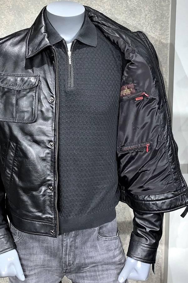 Torras-Leather Bomber in Black