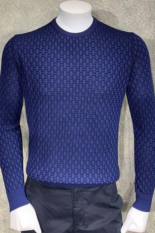 Italian Crew Sweater in Fancy Basket Weave Design of Merino Wool