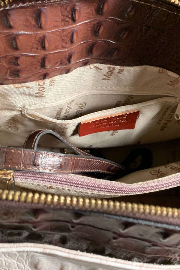Large Italian Stamped Leather Bag