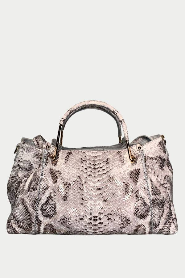 Python Gold/White Leather Doctor Bag