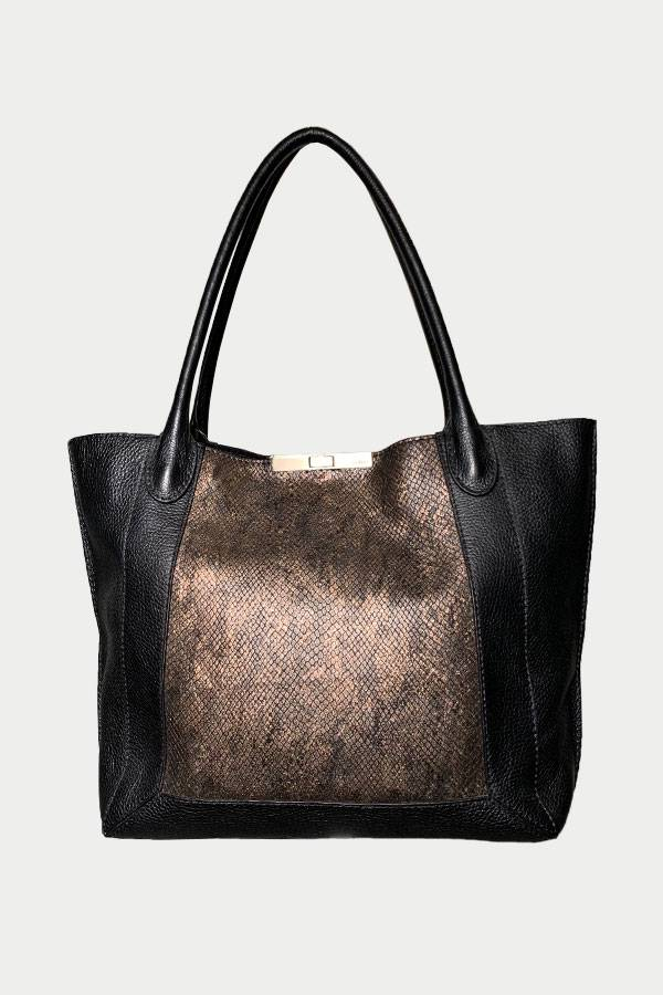 Classic Python Leather Tote