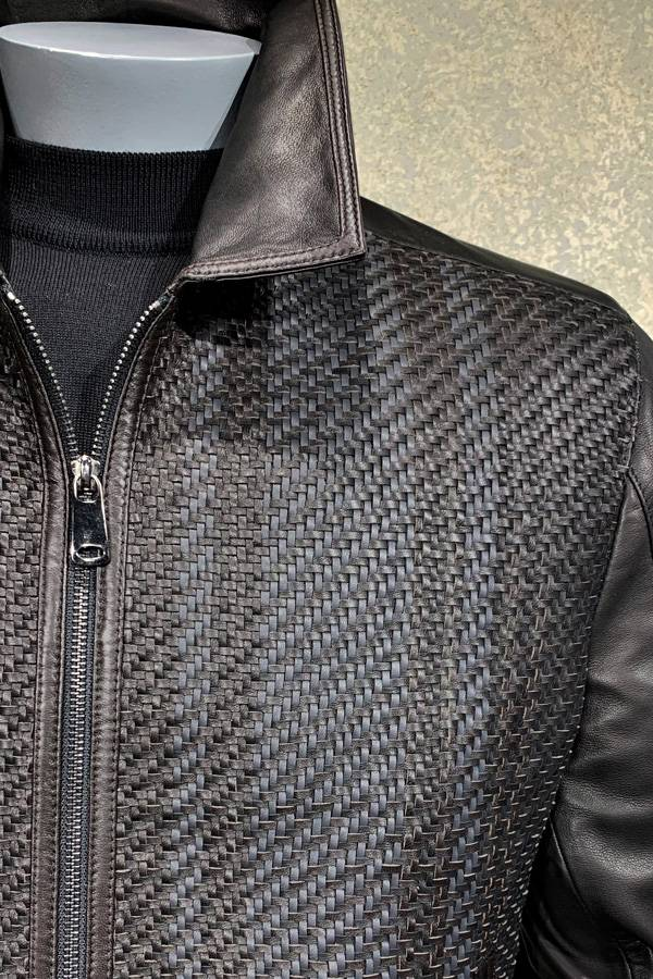 Leather Woven Zip Blouson Jacket Ala Torras