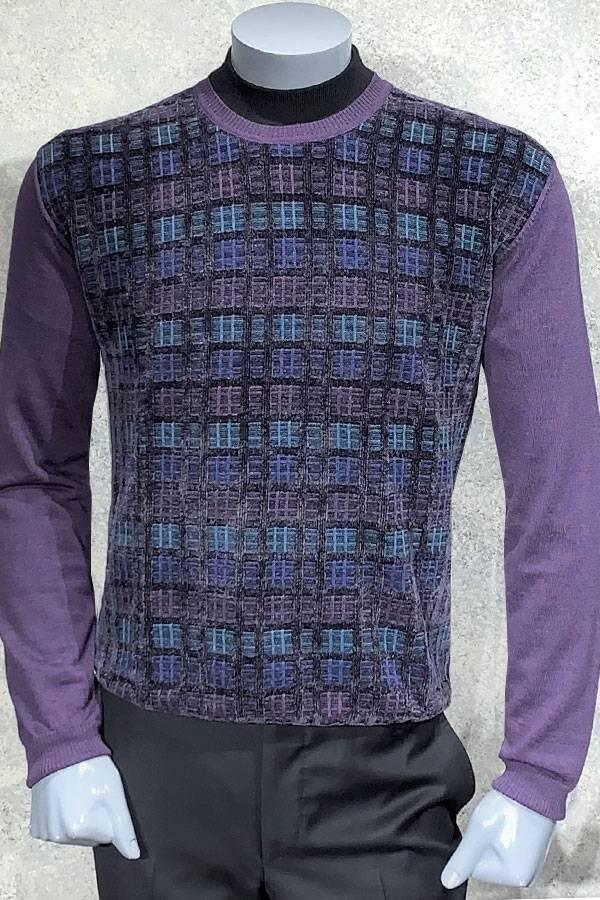 Chenille Crew Neck Geo Sweater