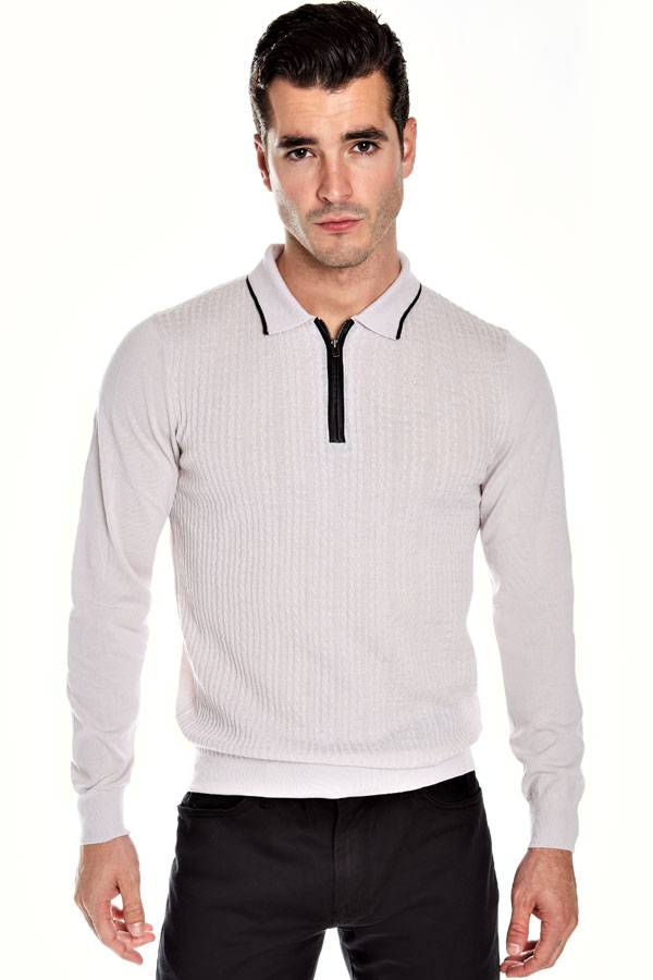 Cashmere Wool Zip Polo with Leather detail