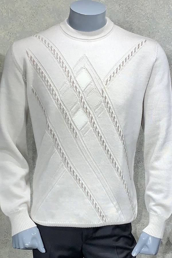 Leather Detail Diamond Design Sweater