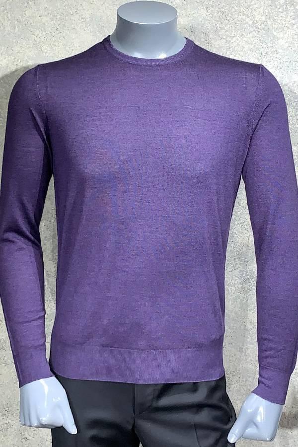 Silk/Wool Solid Crew Neck Sweater