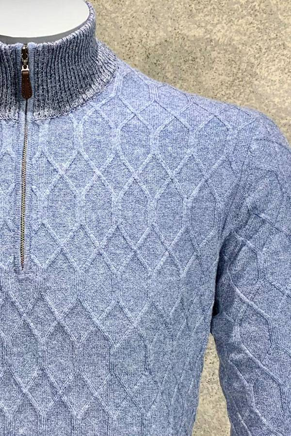 Cashmere Woven Twist Sweater with Mock Zip