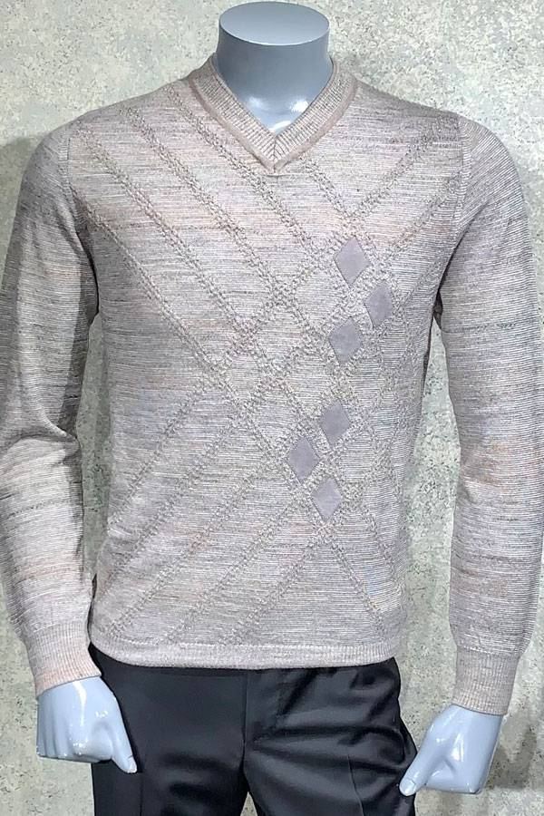Lightweight Vneck Sweater with Diamond Suede Patch
