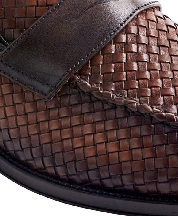 Bruno Magli Woven Penny Loafer – Cognac/Dark Brown Vintage Finish
