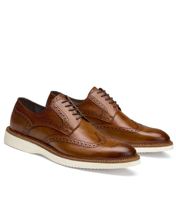 Trask Italian Wingtip Sport Shoe Vintage Finished in Cognac.