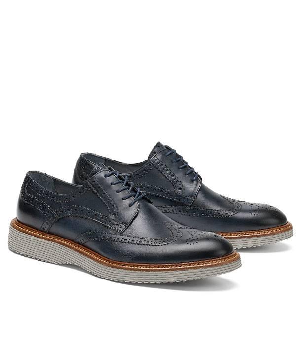 Trask Italian Wingtip Sport Shoe Vintage Finished in Navy.