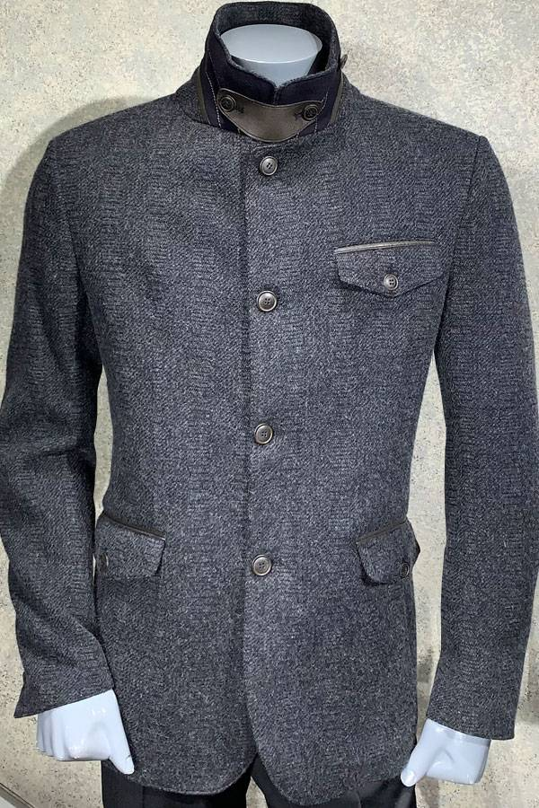 Leather Trim Flap Pocket Outerwear