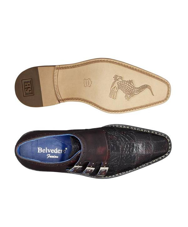 Genuine Caiman Crocodilus and Italian Calf-Monk Shoe